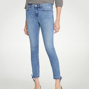 Ann Taylor Key Hole Bow Tie Cropped Jeans 12